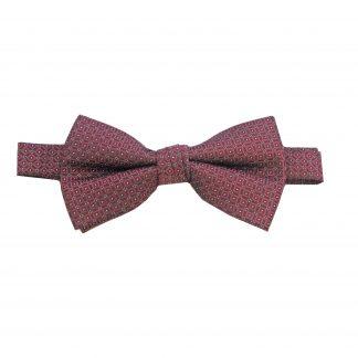 Burgundy Small Diamond Banded Bow Tie