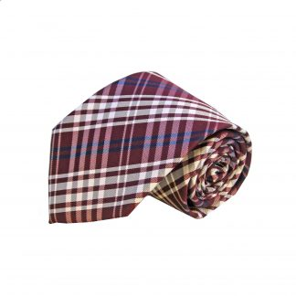 Burgundy Navy Silver Plaid Men's Tie and Pocket Square