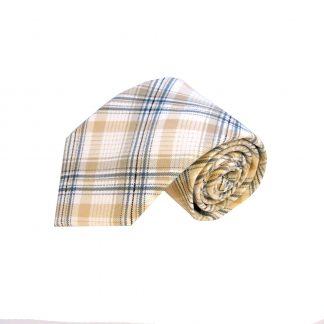 Khaki Cream Blue Plaid Cotton Men's Tie