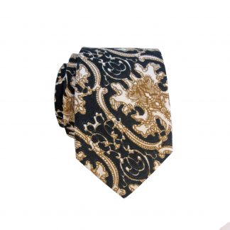 Khaki Navy Paisley Cotton Men's Skinny Tie