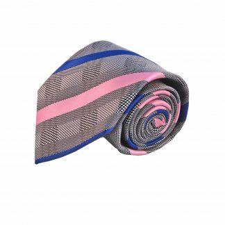 Grey Pink Blue Stripe Men's Tie w/Pocket Square