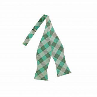 Tiffany Blue, Aqua Grid Self Tie Bow Tie