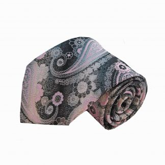 Gray Pink Large Paisley Men's Tie and Pocket Square