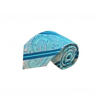 Blue Teal Paisley Men's Tie