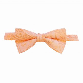 Light Peach Paisley Banded Bow Tie