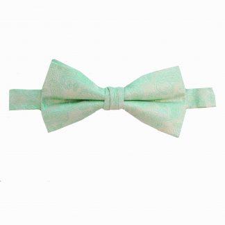 Aqua Mint Paisley Banded Bow Tie