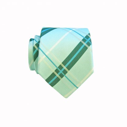 "49"" Aqua Turquoise Plaid Boys Tie"