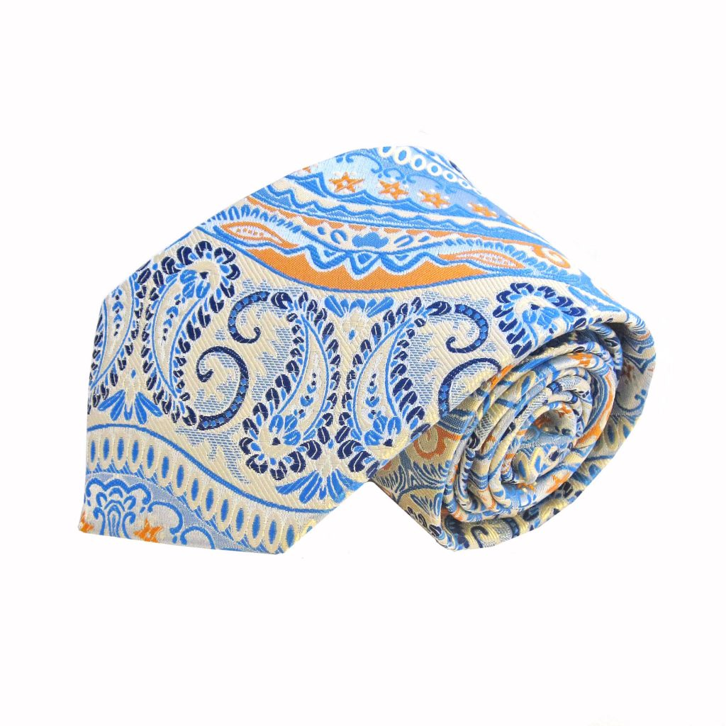 7ced23bced4b5 Light Blue Orange Paisley Men's Tie and Pocket Square Set