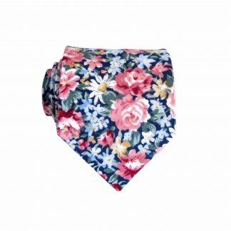 "49"" Boys Navy, Pink Floral Cotton Tie 10927-0"