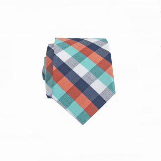 Blue, Orange, Teal, White Block Cotton Skinny Men's Tie 8391-0
