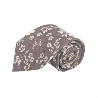 Brown, Tan Floral Cotton Men's Tie 5256-0