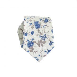 Cream, Blue,Taupe Floral Cotton Men's Skinny Tie 9502-0