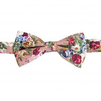 Mauve, Cream, Burgundy Floral Cotton Banded Bow Tie 1192-0