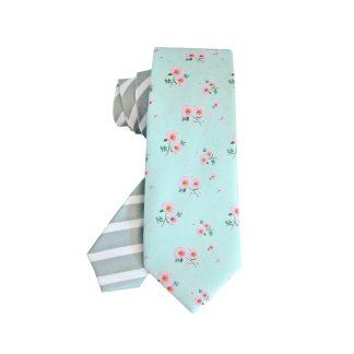 Mint, Gray Floral Stripe Skinny Men's Tie 5310-0