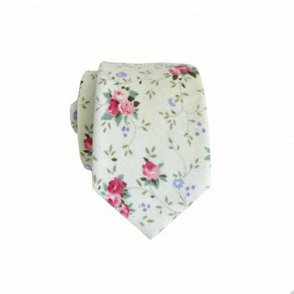 Mint, Pink Floral Cotton Men's Skinny Tie 10137-0