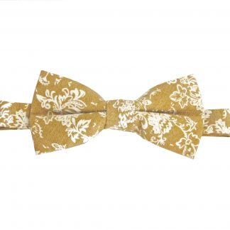 Mustard, Cream Floral Cotton Banded Bow Tie 1960-0