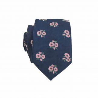 Navy,Pink Floral Men's Skinny Tie 8409-0