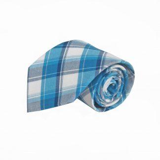 Teal, Blue, White Plaid Cotton Men's Tie 7635-0