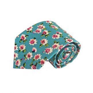 Teal, Cream, Pink Floral Cotton Men's Tie 6459-0