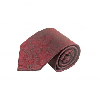 Burgundy, Charcoal Paisley Silk Men's Tie 9537-0