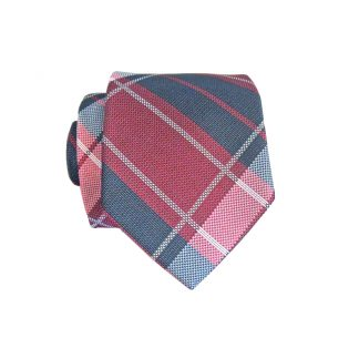 Burgundy, Navy Plaid Skinny Men's Tie w/Pocket Square 4606-0
