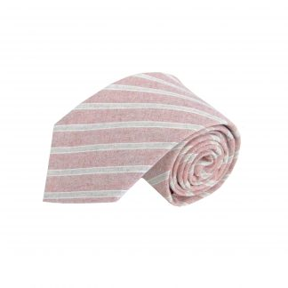 Muted Red, Light Gray Stripe Cotton Men's Tie 7628-0
