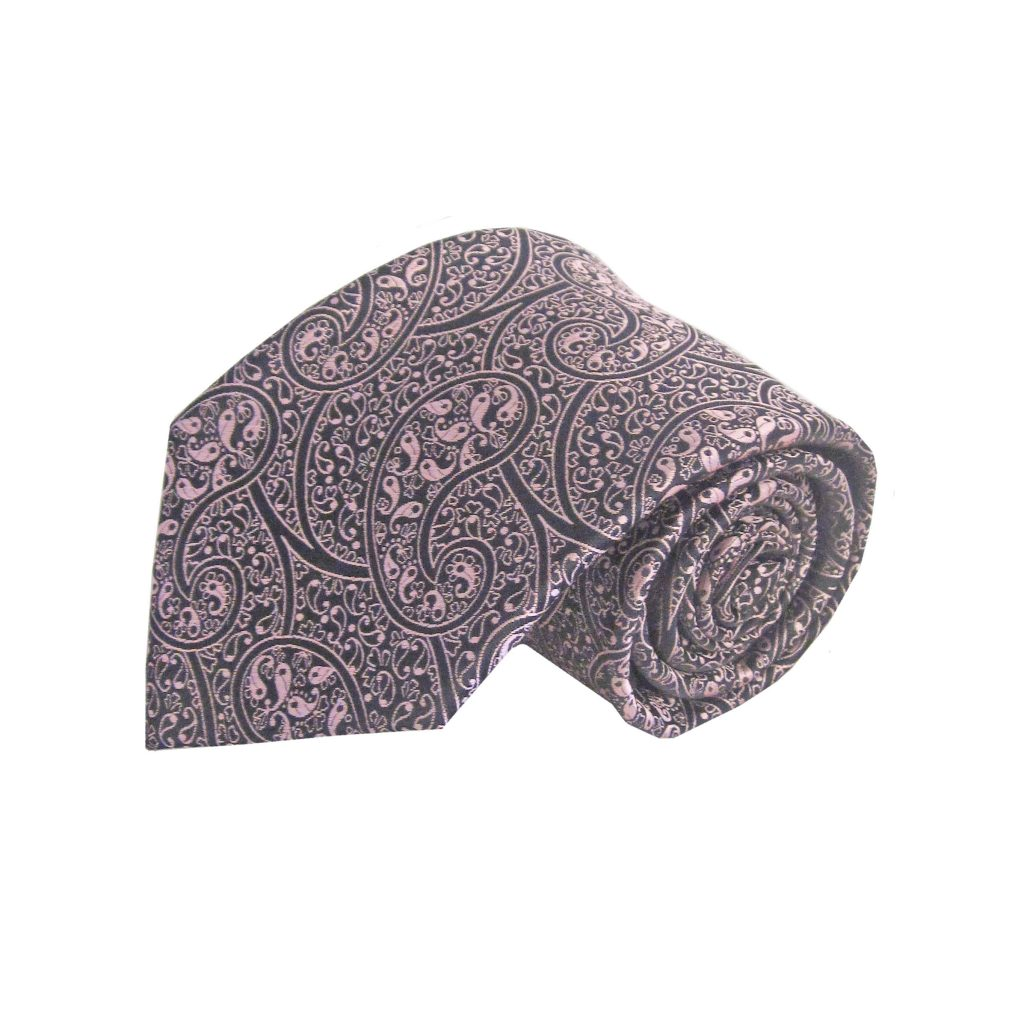 8eb88081bdc3e Pink, Black Paisley Men's Tie w/Pocket Square 3453-0