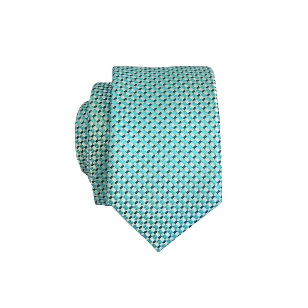 c23c670615f3 Turquoise, White, Black Small Squares Skinny Men's Tie w/Pocket Square  10247-
