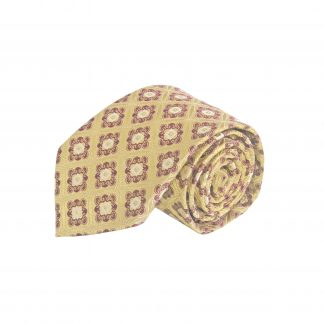 Gold, Burgundy Medallion Men's Tie w/Pocket Square 11264-0