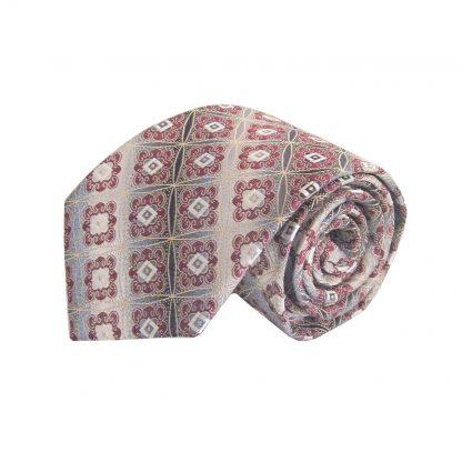 Gray, Burgundy Medallion Men's Tie w/Pocket Square 3449-0