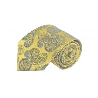 Gold, Gray Paisley Men's Tie w/Pocket Square 5828-0