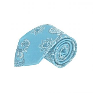 French Blue Paisley Men's Tie w/Pocket Square 1850-0