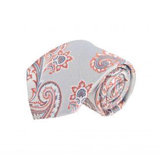 Silver, Clementine Paisley Men's Tie w/Pocket Square 9246-0
