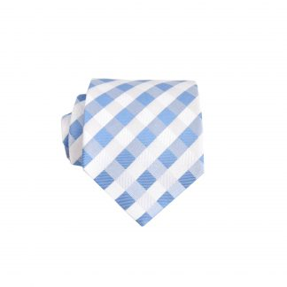 "49"" Boys Self Tie French Blue, White Criss Cross Tie 6434-0"