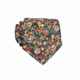 "49"" Boys Self Tie Red, Green, Mustard, Black Floral Cotton Tie 3903-0"