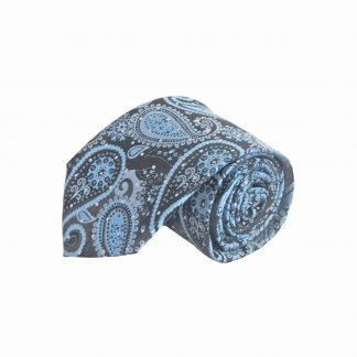 "63"" XL French Blue, Black Paisley Men's Tie 11163-0"