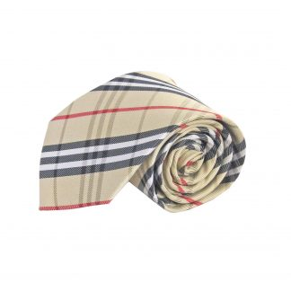 "63"" XL Khaki, Black, Red, White Plaid Tie 5595-0"