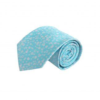 Aqua, Silver Floral Men's Tie 6503-0