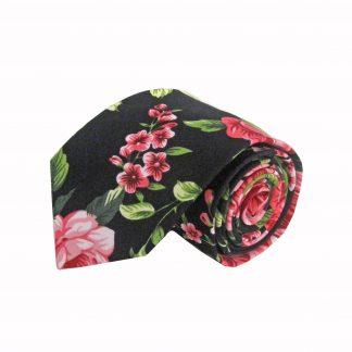 Black, Pink, Green Floral Cotton Men's Tie 7084-0