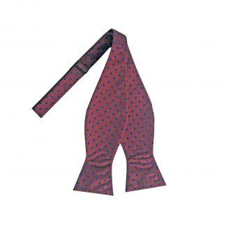 Burgundy, Navy Dots Self Tie Bow Tie 10842-0