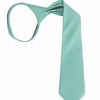 "14"" Boys Tiffany Blue Solid Zipper Tie 6053-0"