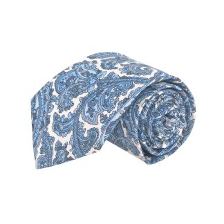 63' XL French Blue Paisley Cotton Men's Tie 5853-0