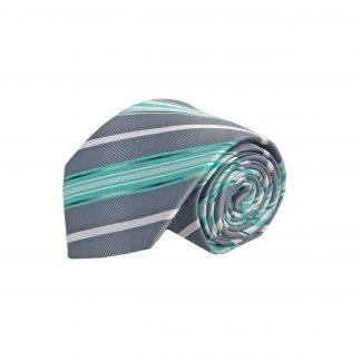 "63"" XL Gray, Teal Stripe Men's Tie 10798-0"