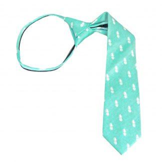 """14"""" Boy's Zipper Tiffany Blue Pineapple Tie 6218-0"""