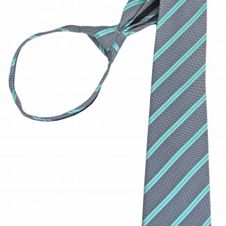 "21"" Gray, Turquoise Stripe Men's Zipper Tie 8241-0"