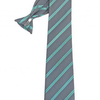 "21"" Men's Clip Gray, Turquoise Stripe Tie 8234-0"