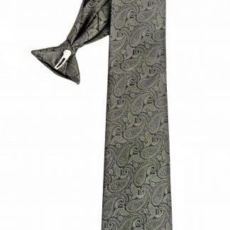 "21"" Men's Clip Olive, Black Paisley Tie 5097-0"