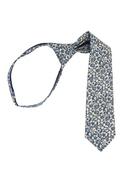 "11"" Boy's French Blue Floral Zipper Tie 4706-0"