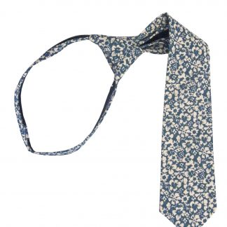 "14"" Boy's French Blue Floral Zipper Tie 7769-0"
