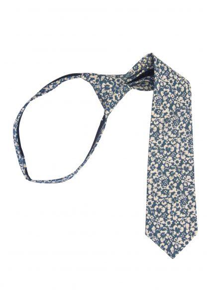 "14"" Boy's French Blue Floral Zipper Tie 7769-0"